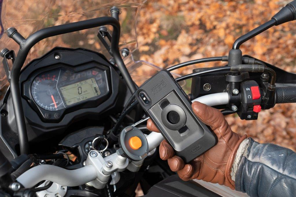 tigra sport fitclic neo motorcycle mount in use